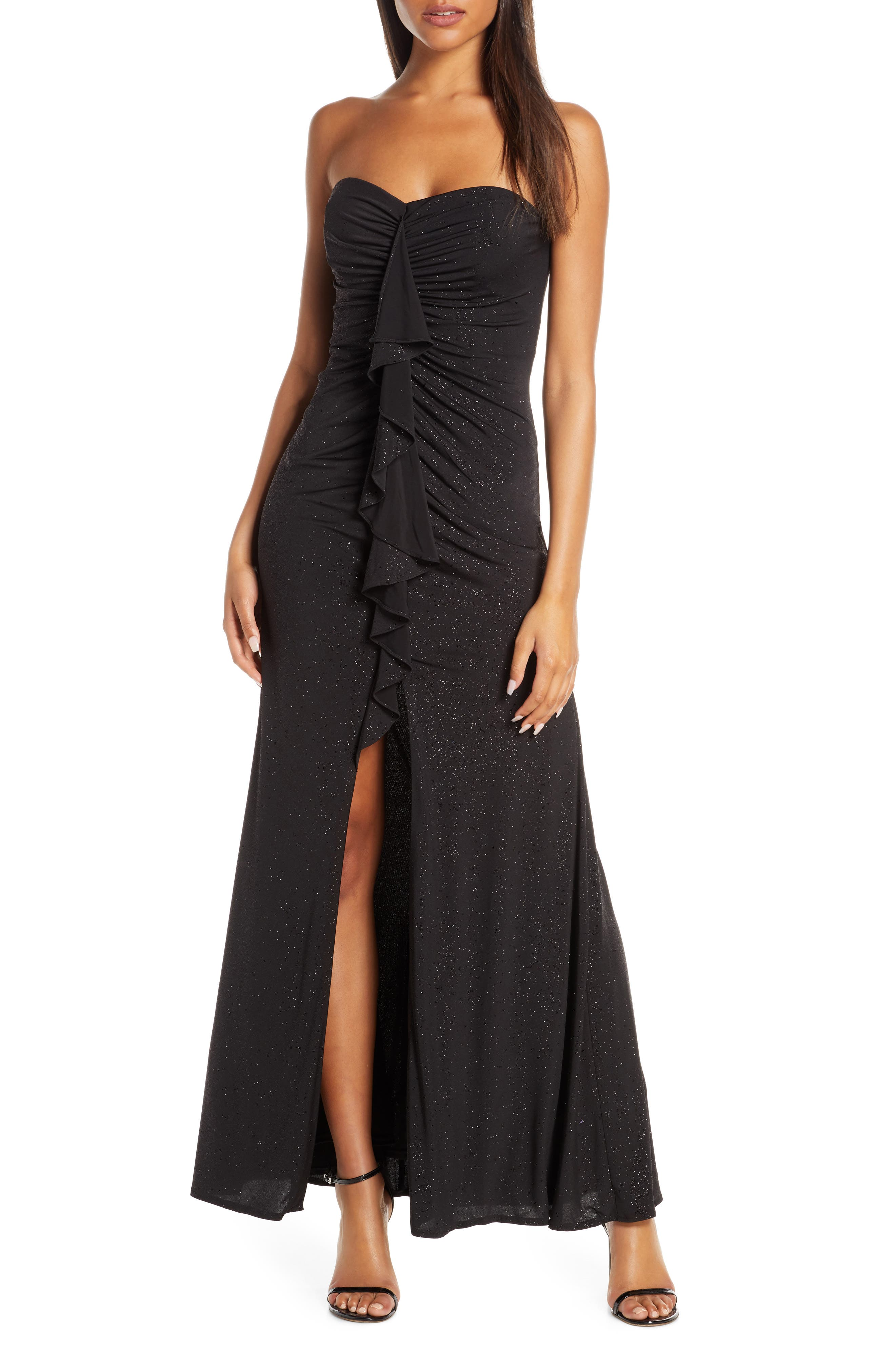 Vince Camuto Cascading Ruffle Strapless Gown, Black