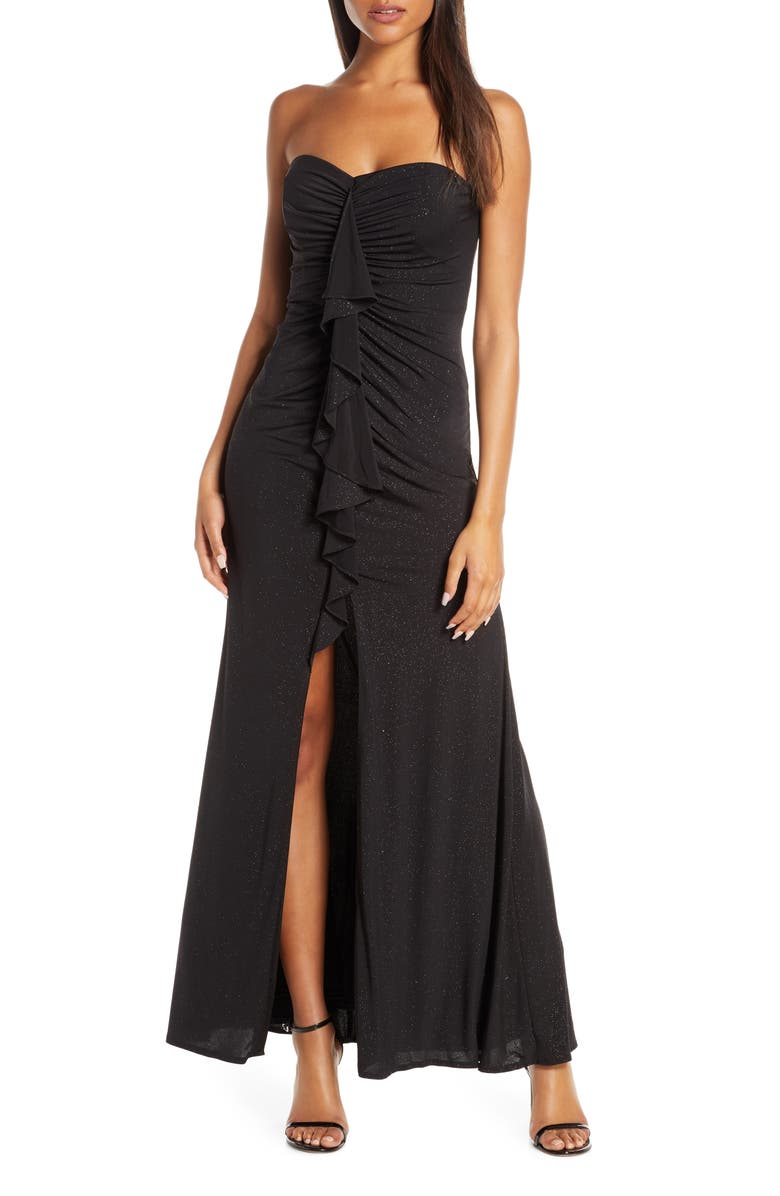 VINCE CAMUTO Cascading Ruffle Strapless Gown, Main, color, BLACK