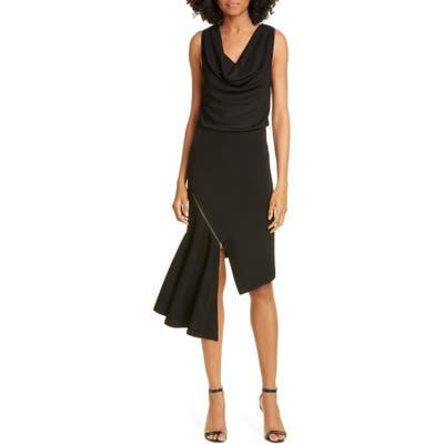 Alice + Olivia Hollis Cascade Asymmetrical Dress, Black