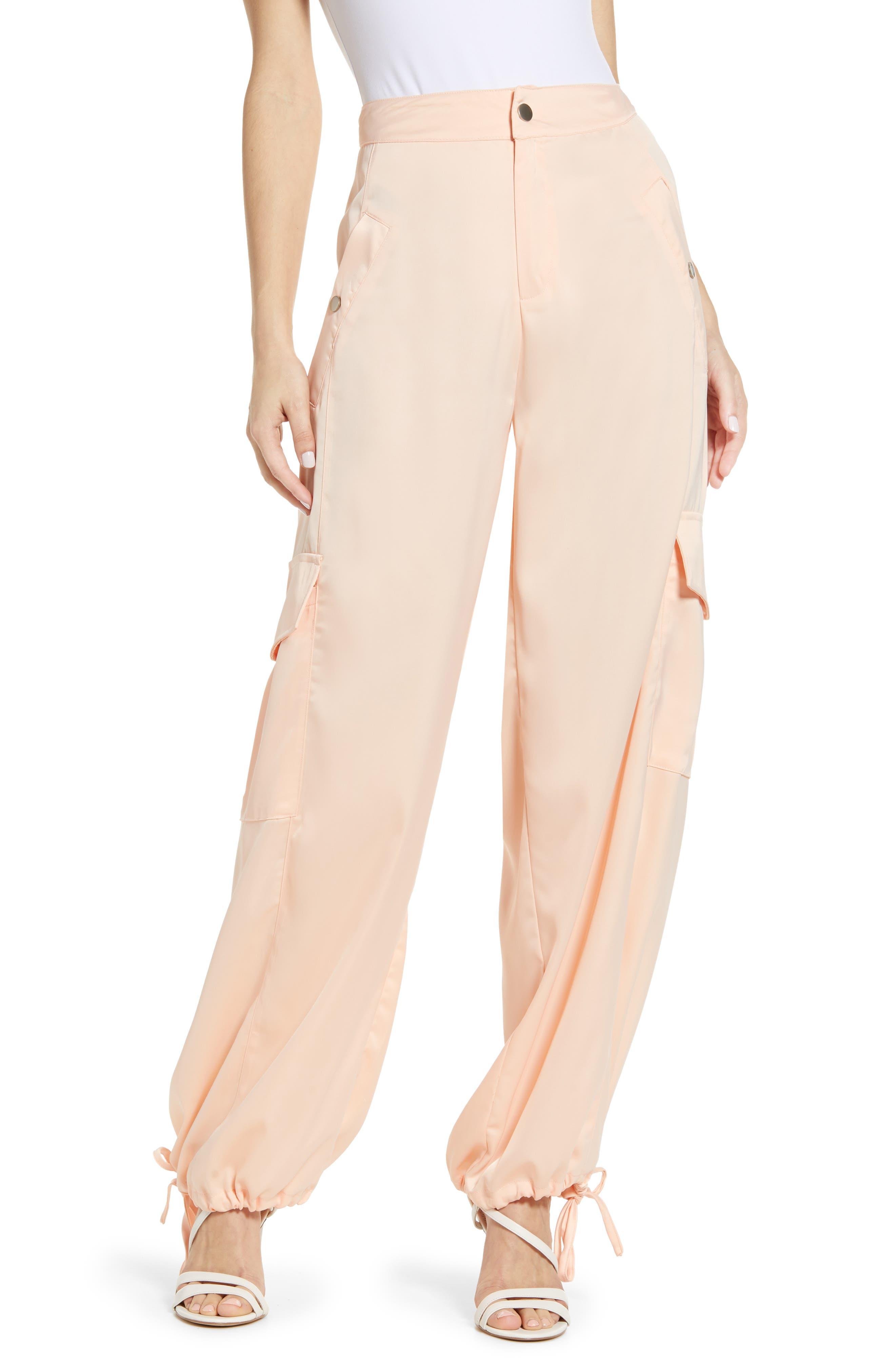 Kendall + Kylie Satin Cargo Pants,6 - Pink
