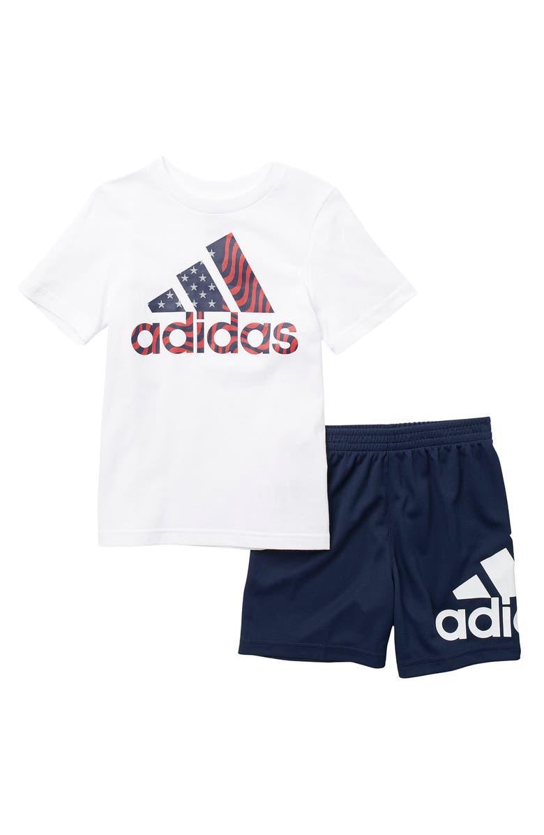 ADIDAS Logo T-Shirt & Shorts Set, Main, color, WHT W/NAVY