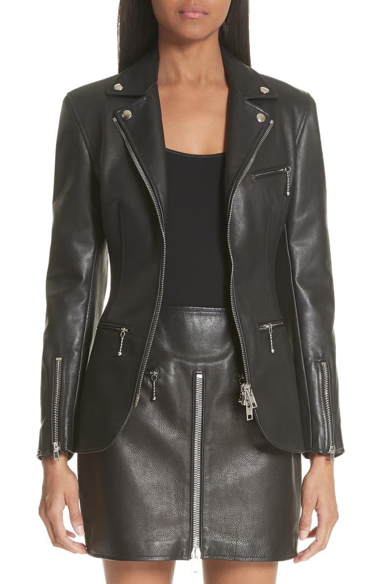 ALEXANDER WANG Zip Front Leather Blazer, Main, color, 001