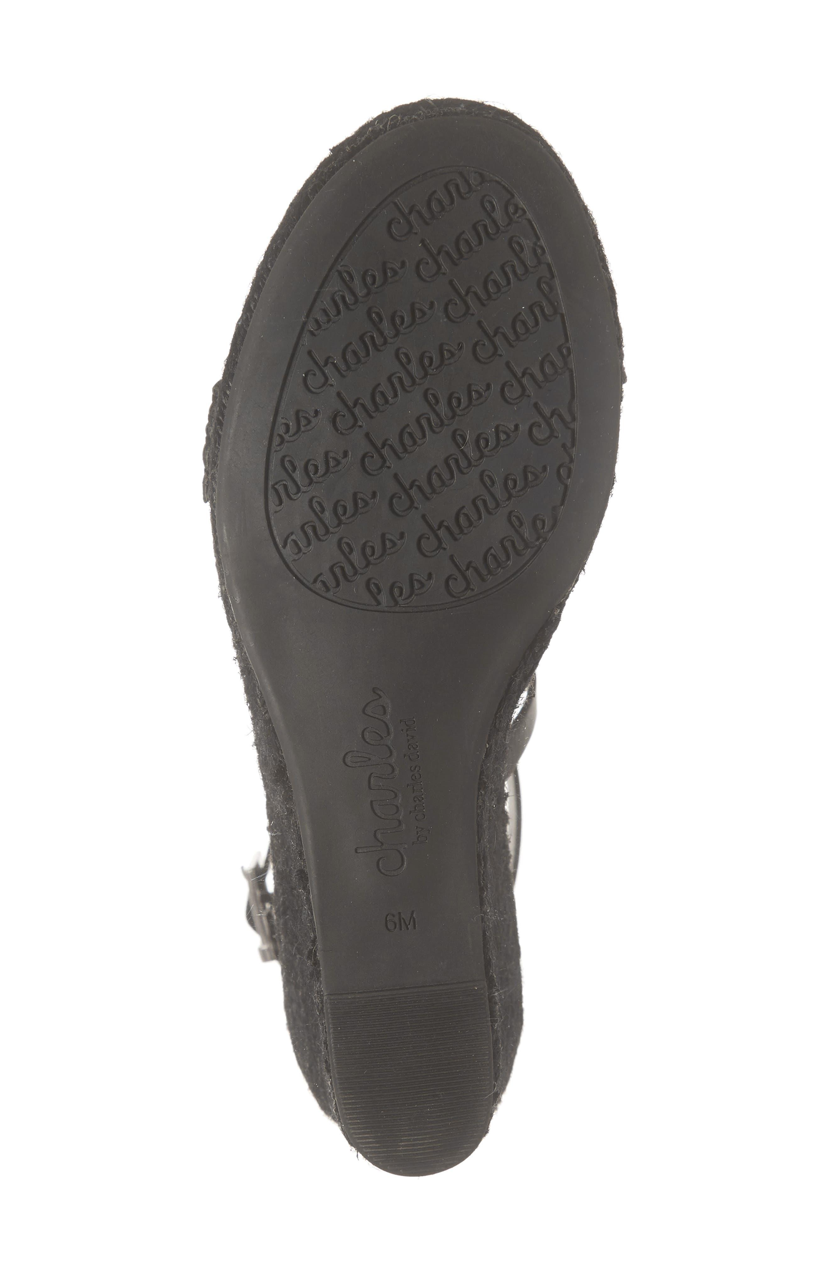 ,                             Nola Espadrille Wedge Sandal,                             Alternate thumbnail 6, color,                             BLACK FAUX LEATHER