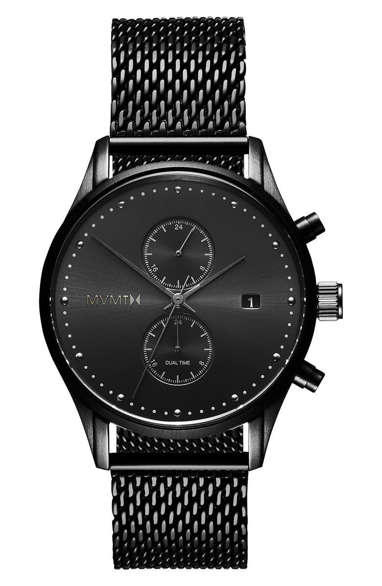 MVMT Voyager Mesh Strap Watch, 42mm, Main, color, BLACK
