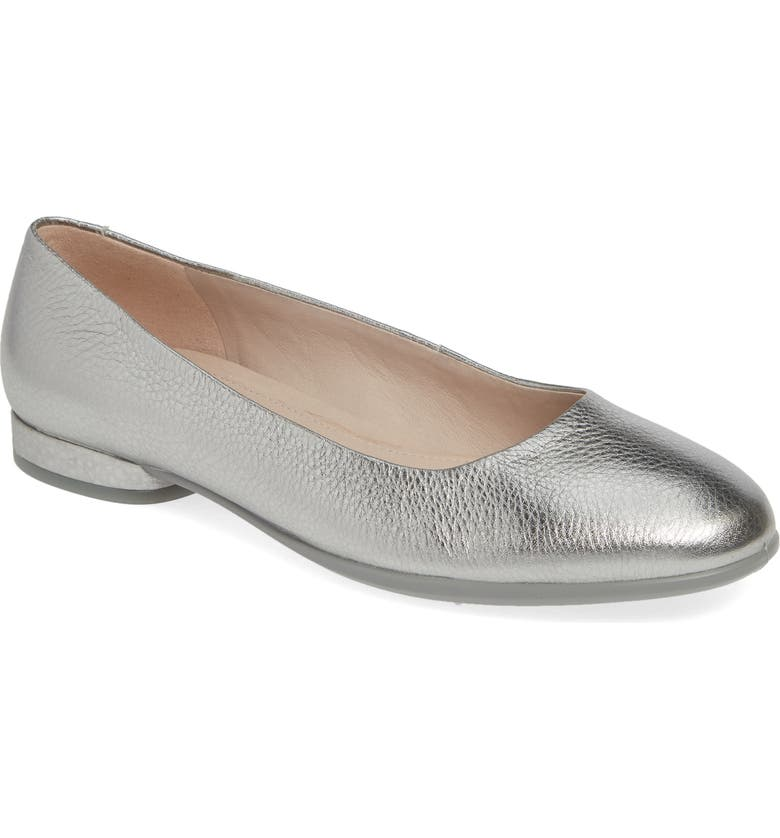 ECCO Anine Ballerina Flat, Main, color, SOFT STONE METALLIC LEATHER