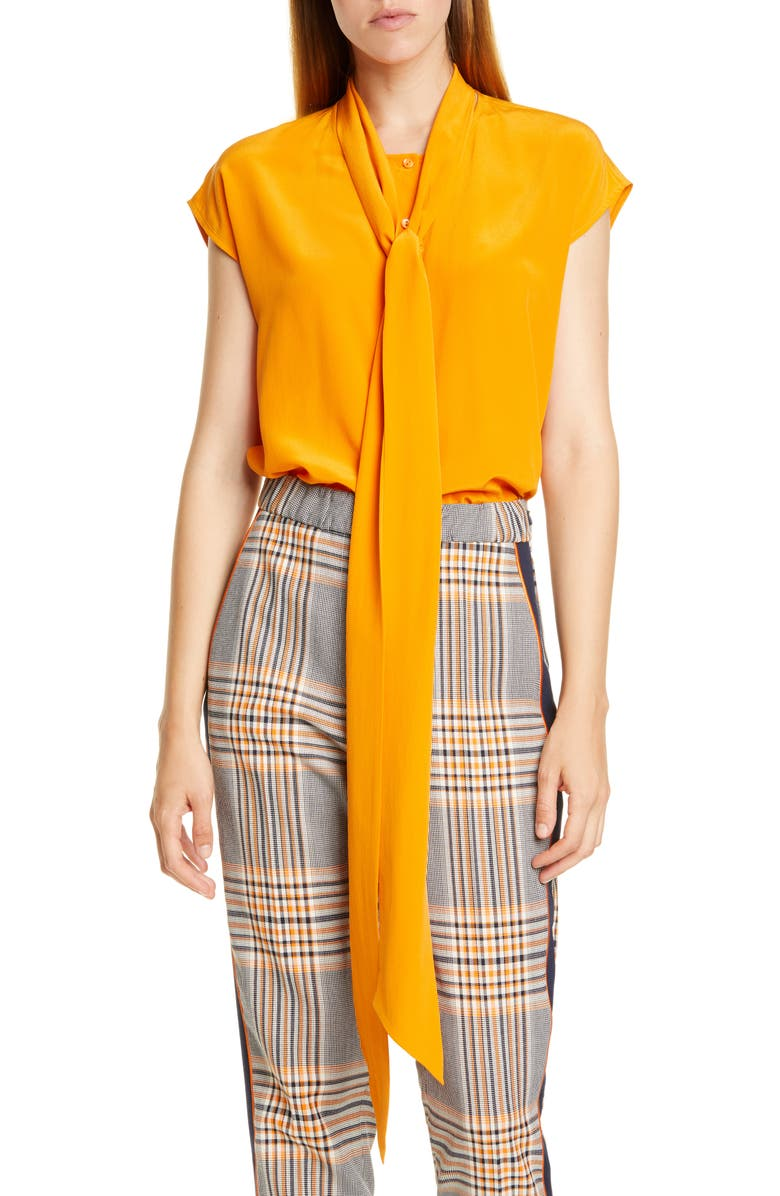 HUGO Esalis Tie Neck Sleeveless Silk Blouse, Main, color, CHROME ORANGE