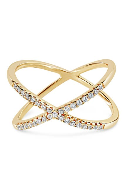 Image of Sterling Forever 14K Yellow Gold Vermeil Cubic Zirconia Accent X Ring