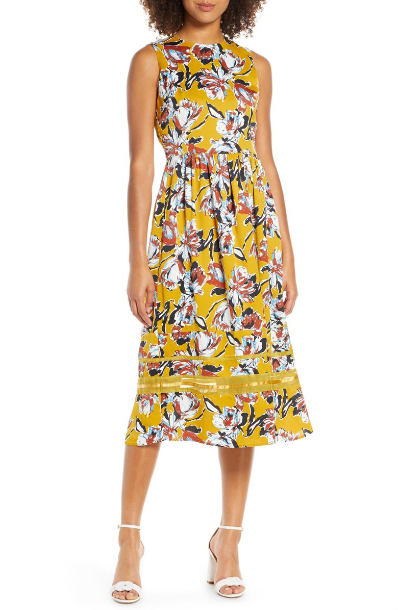 CHELSEA28 Floral Print Sleeveless Midi Dress, Main, color, MUSTARD MULTI PRINT
