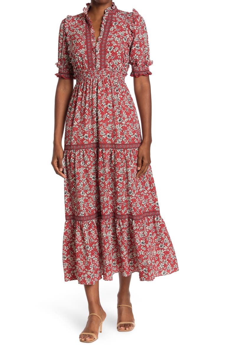 MAX STUDIO Elbow Length Sleeve Print Tiered Maxi Dress, Main, color, TERIVDOR