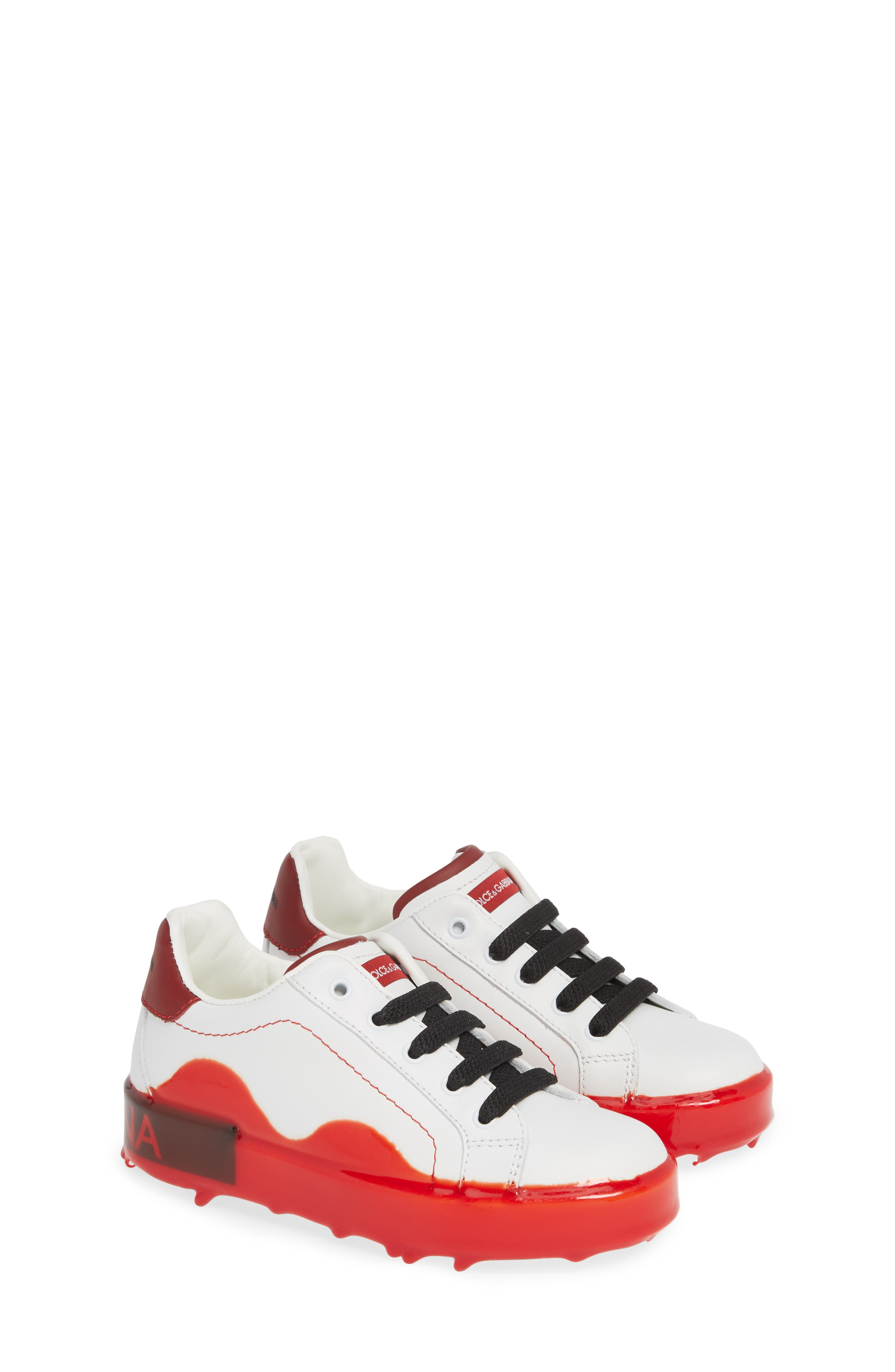 ,                             Dipped Sole Low Top Sneakers,                             Alternate thumbnail 2, color,                             WHITE/ RED
