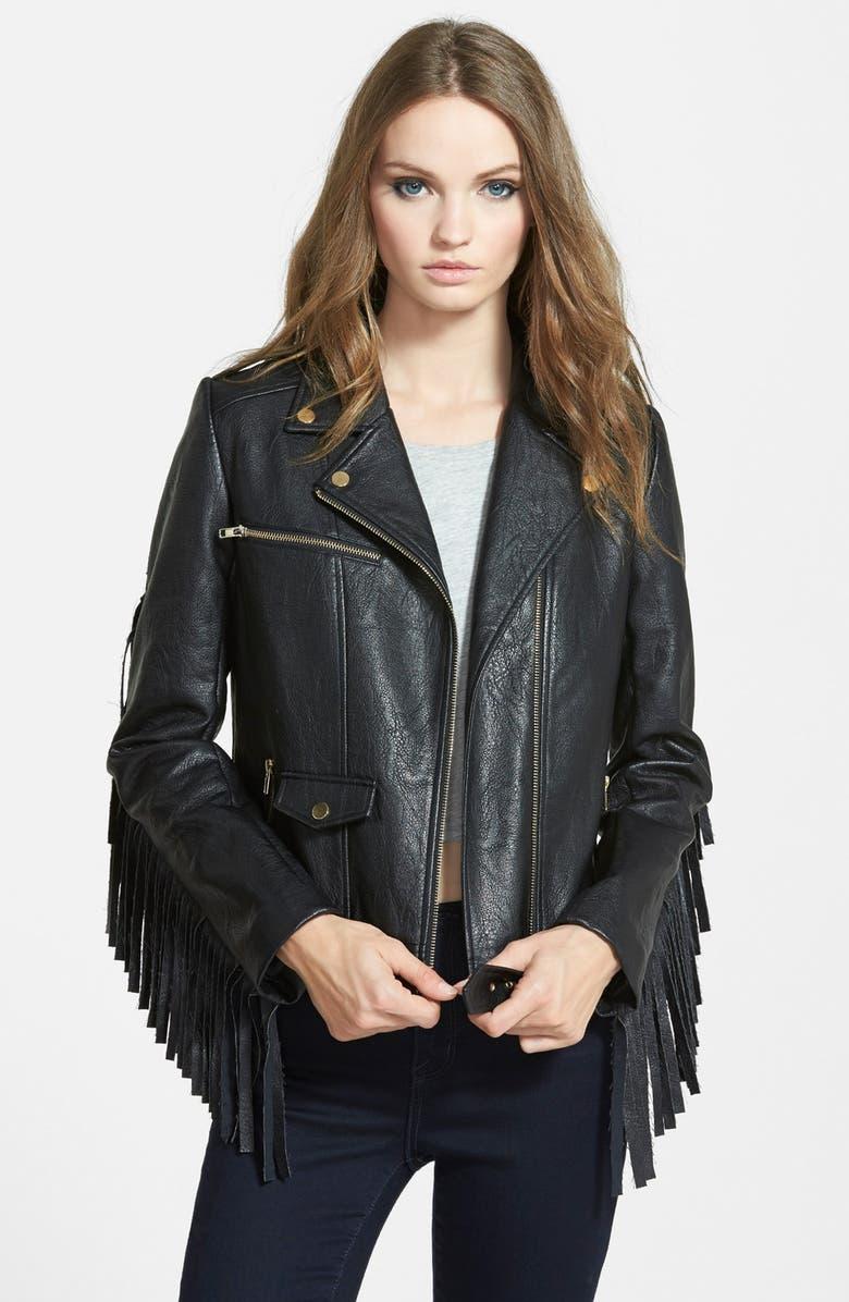 MISSGUIDED Fringe Faux Leather Biker Jacket, Main, color, 001