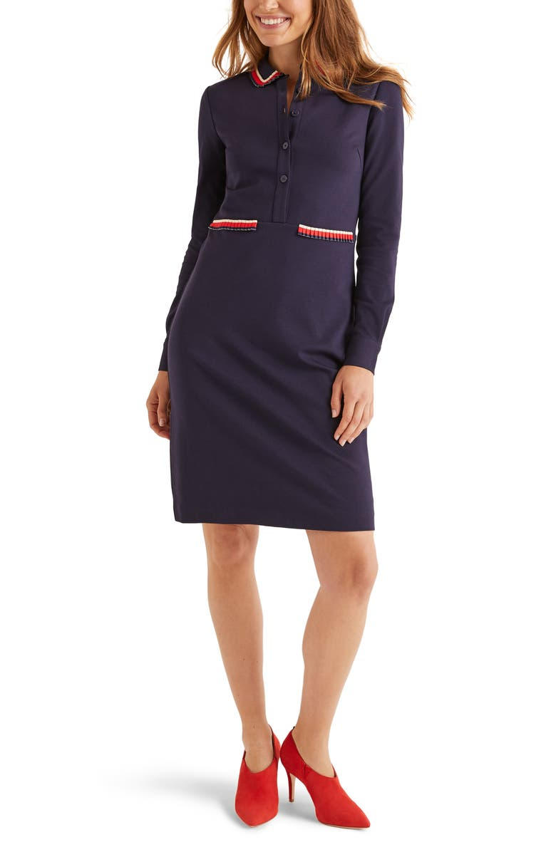 BODEN Amber Button Front Long Sleeve Ponte Dress, Main, color, NAVY