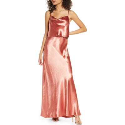 Wayf The Narcissa Popover Cowl Neck Satin Gown, Coral