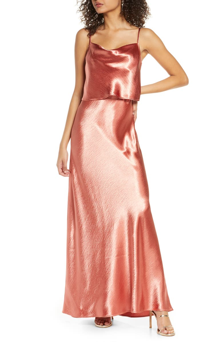 WAYF The Narcissa Popover Cowl Neck Satin Gown, Main, color, PERSIMMON