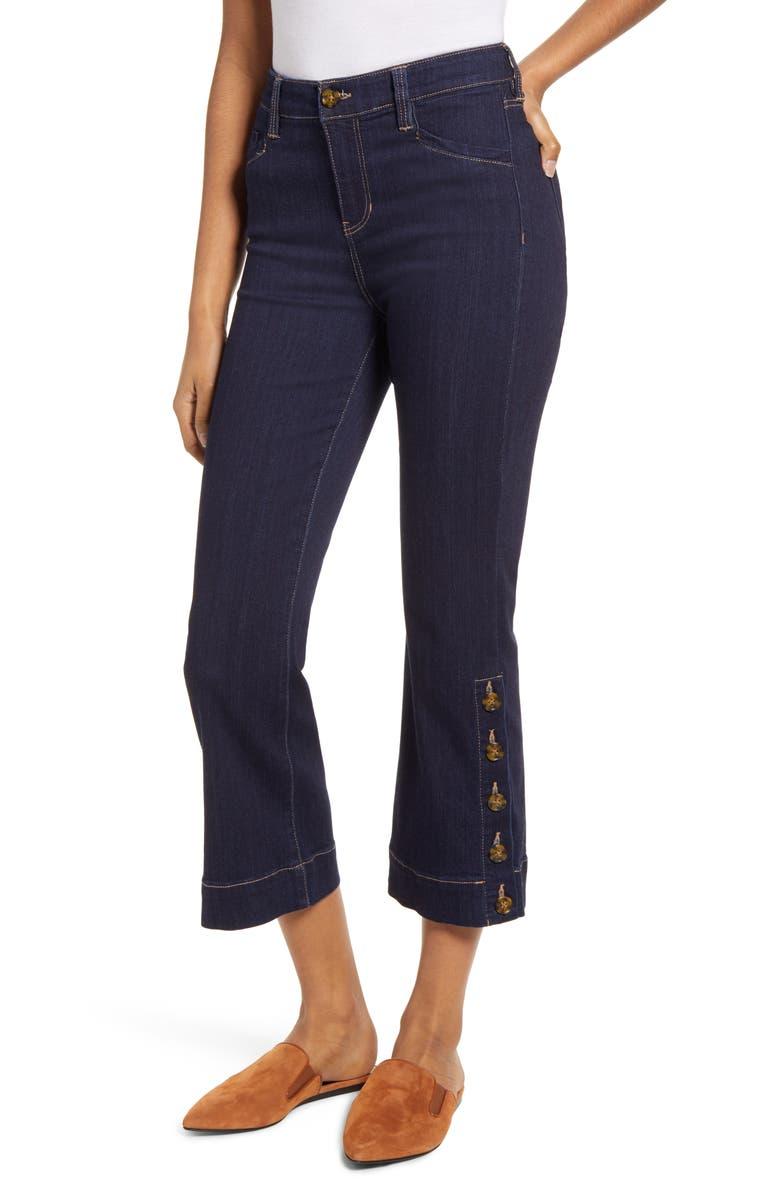 LIVERPOOL High Waist Button Hem Kick Flare Crop Jeans, Main, color, VIRGINIA
