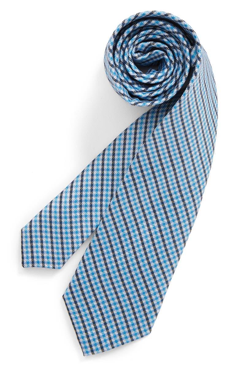 MICHAEL KORS Micro Gingham Silk Tie, Main, color, 440