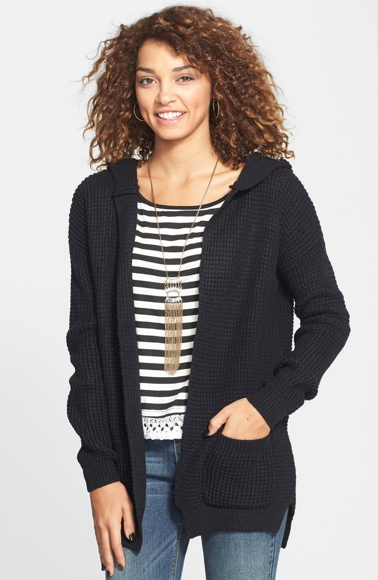 BP. Shaker Stitch Hooded Cardigan, Main, color, 001