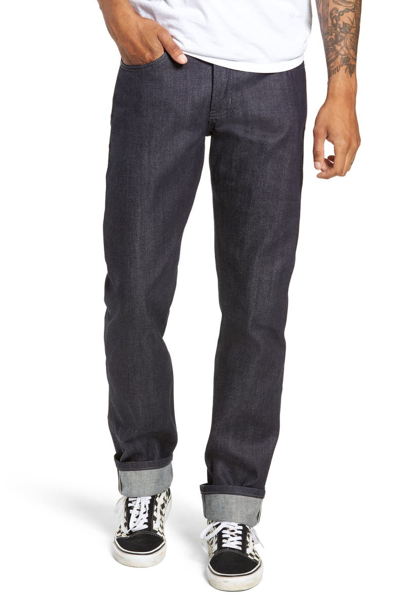 NAKED & FAMOUS DENIM Weird Guy Slim Fit Selvedge Jeans, Main, color, INDIGO