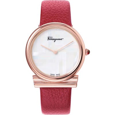 Salvatore Ferragamo Gancino Slim Leather Strap Watch,