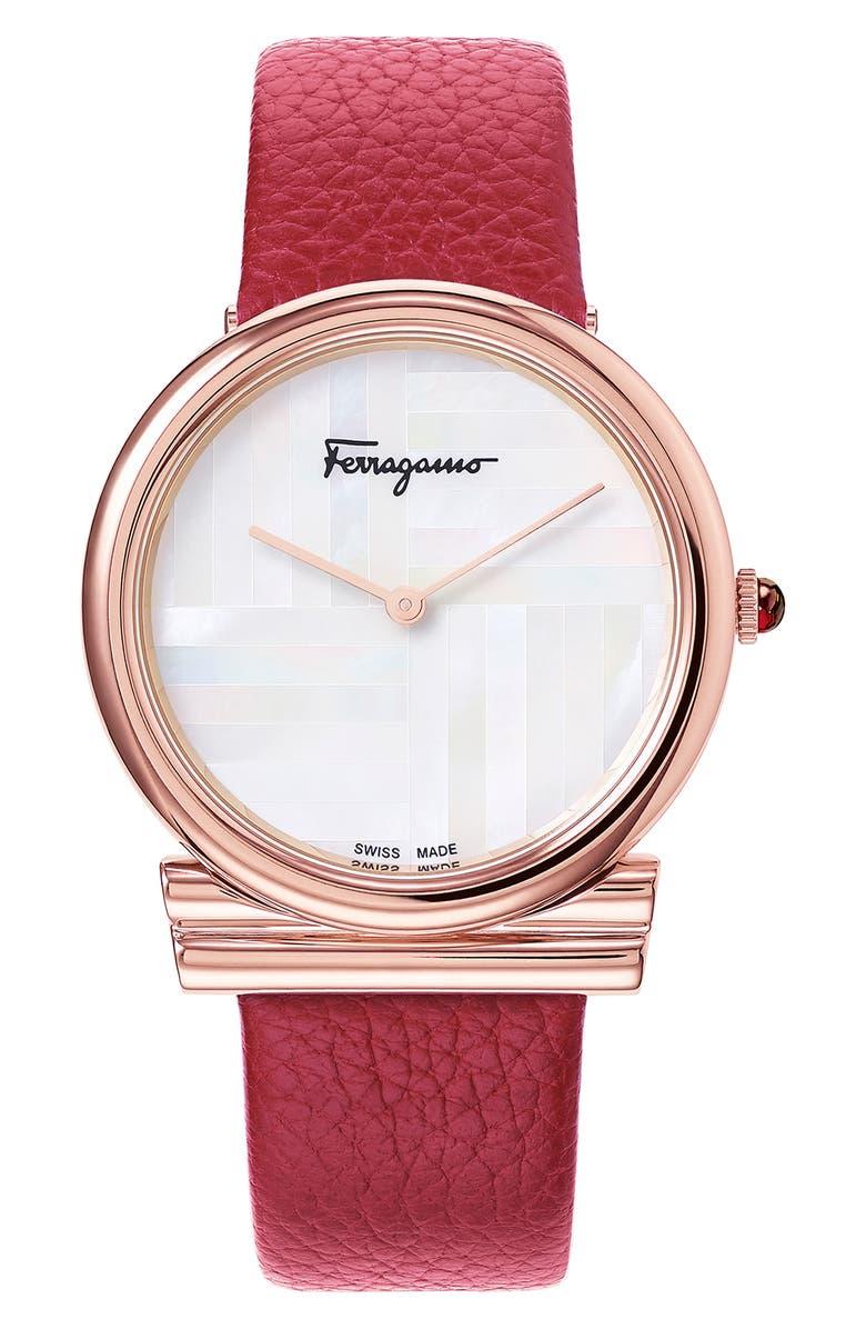 SALVATORE FERRAGAMO Gancino Slim Leather Strap Watch, 34mm, Main, color, BURGUNDY/ WHITE MOP/ ROSE GOLD