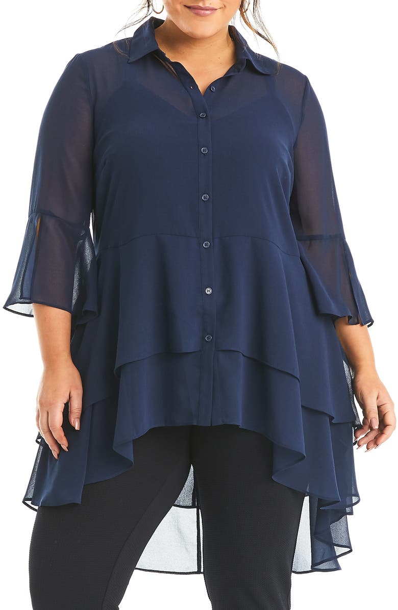 ESTELLE Amy Ruffle Button-Up Top, Main, color, 410