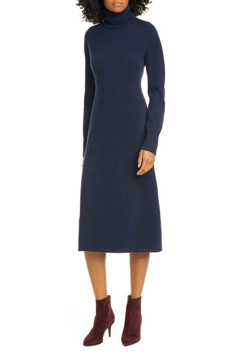 NORDSTROM SIGNATURE Long Sleeve Wool & Cashmere Blend Sweater Dress, Main, color, NAVY NIGHT