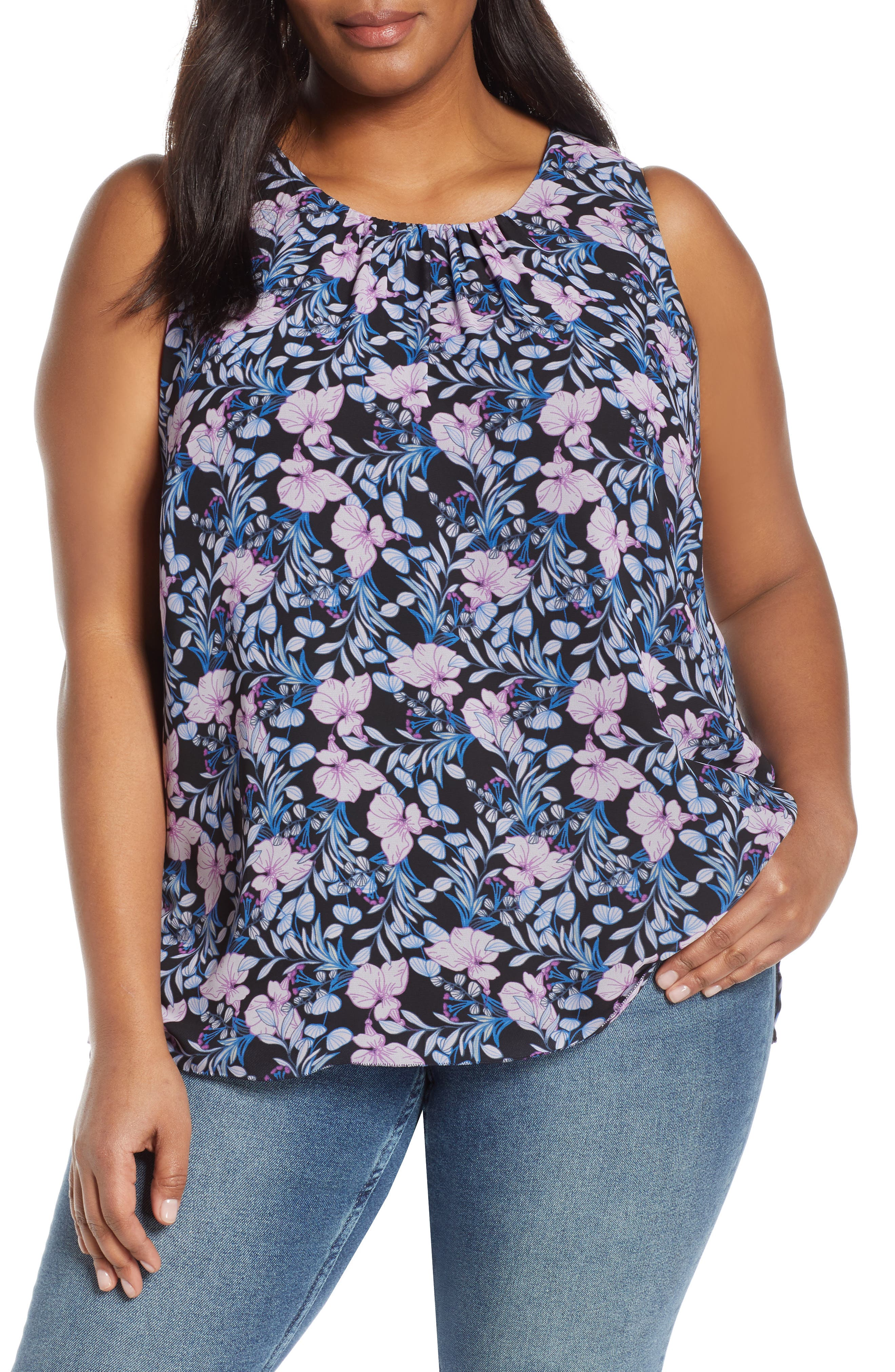 Charming Floral Chiffon Blouse, Main, color, CLASSIC NAVY