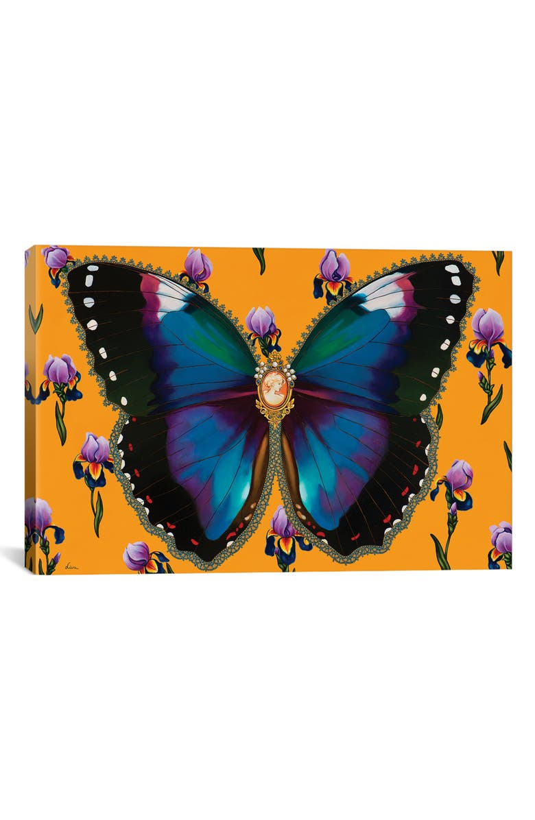 ICANVAS Butterfly with Iris by Liva Pakalne Fanelli Giclée Print Canvas Art, Main, color, ORANGE