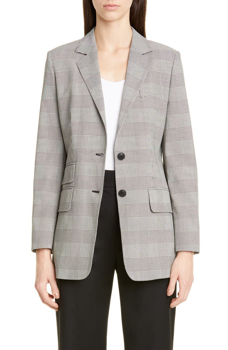 MAX MARA Angelo Glen Plaid Cotton Jacket, Main, color, IVORY