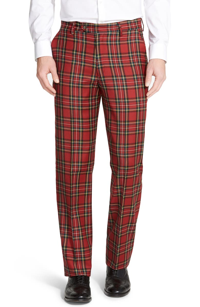 BERLE Flat Front Classic Fit Plaid Wool Trousers, Main, color, RED