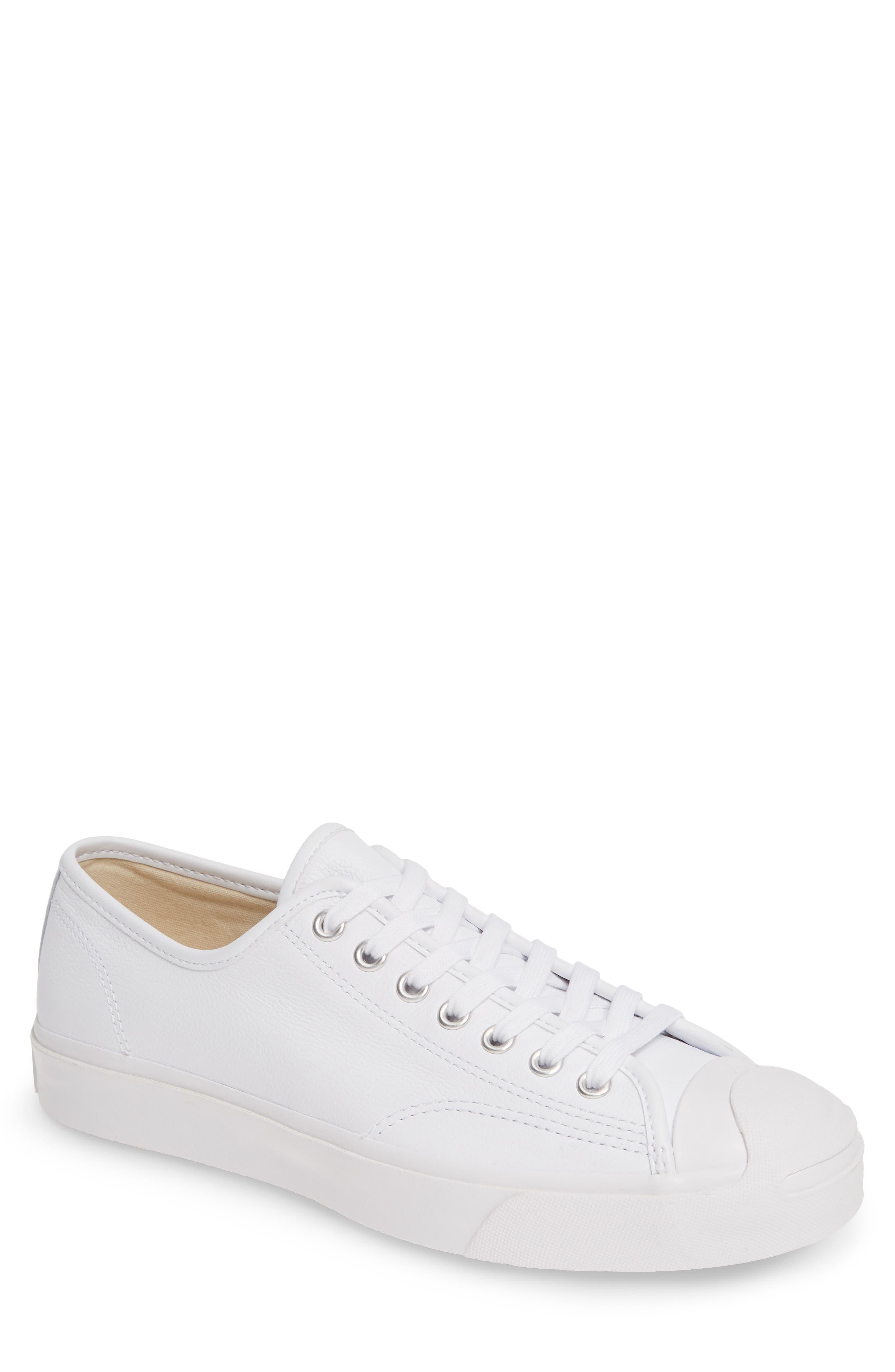 1930s Men's Shoe Styles, Art Deco Era Footwear Mens Converse Jack Purcell Low Top Leather Sneaker Size 9.5 M - White $70.00 AT vintagedancer.com