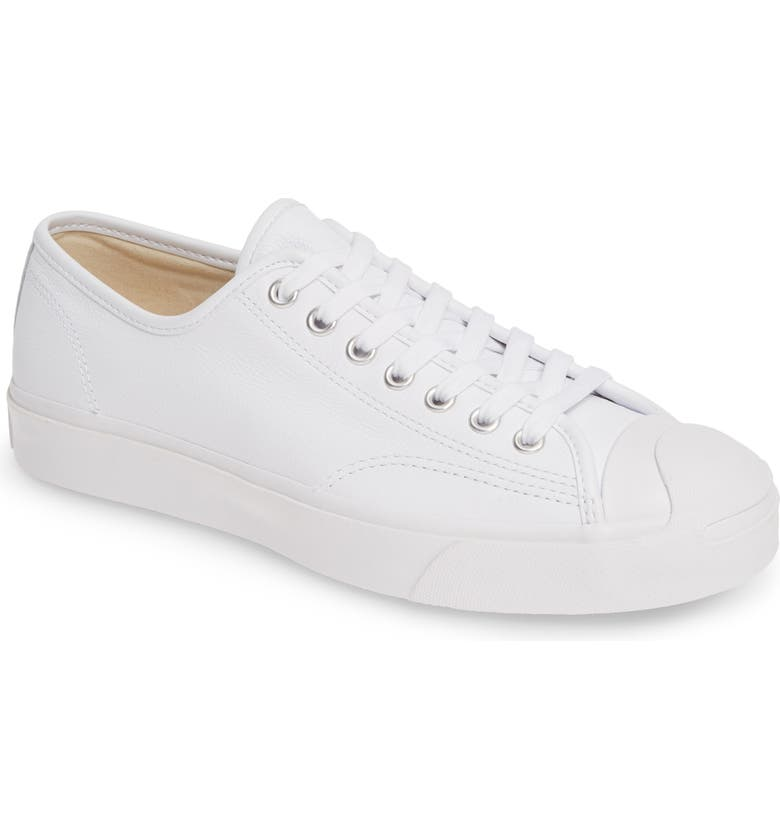CONVERSE Jack Purcell Leather Sneaker, Main, color, WHITE LEATHER