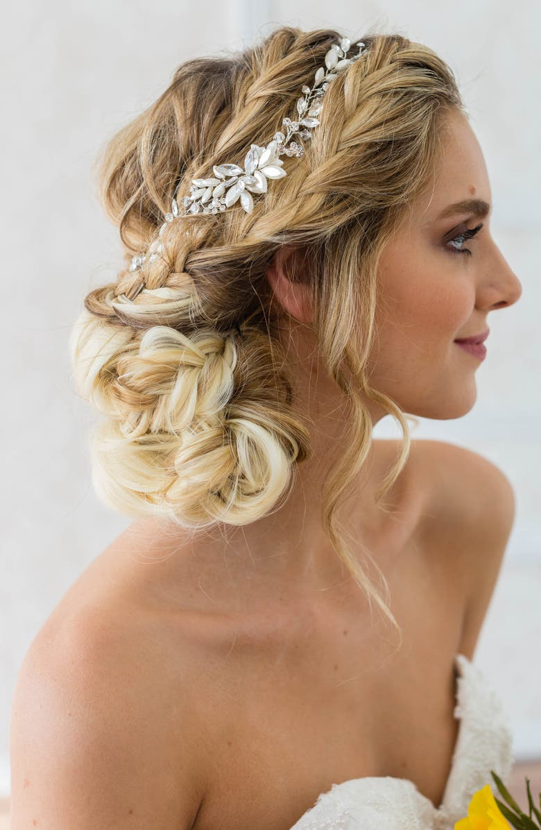 BRIDES & HAIRPINS Rhea Halo with Combs, Main, color, CLASSIC SILVER