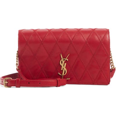 Saint Laurent Angie Quilted Lambskin Leather Crossbody Bag - Red