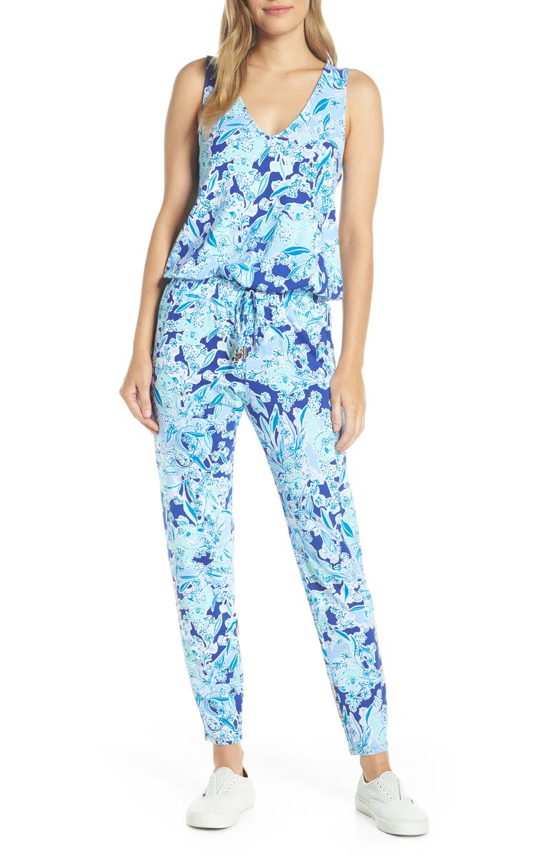 LILLY PULITZER<SUP>®</SUP> Paulina Jumpsuit, Main, color, ROYAL PURPLE KOALAFICATIONS