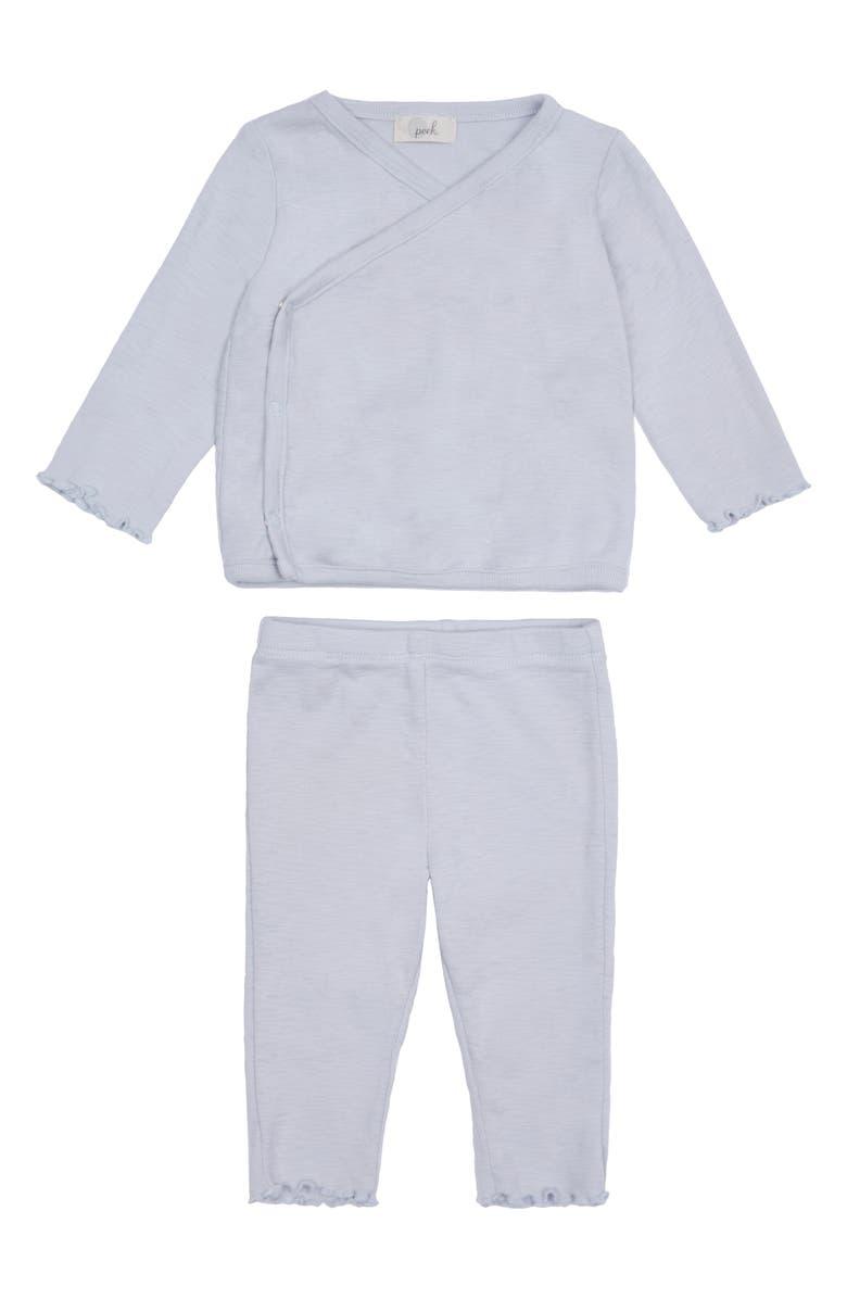 PEEK ESSENTIALS Bailey Wrap Top & Leggings Set, Main, color, LIGHT GREY