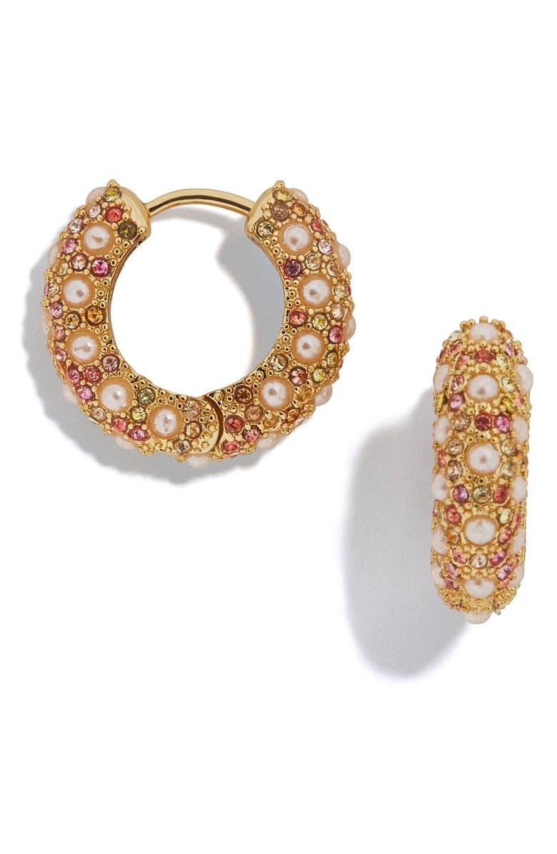 BAUBLEBAR Biscay Huggie Hoop Earrings, Main, color, PURPLE/ TURQUOISE/ PINK