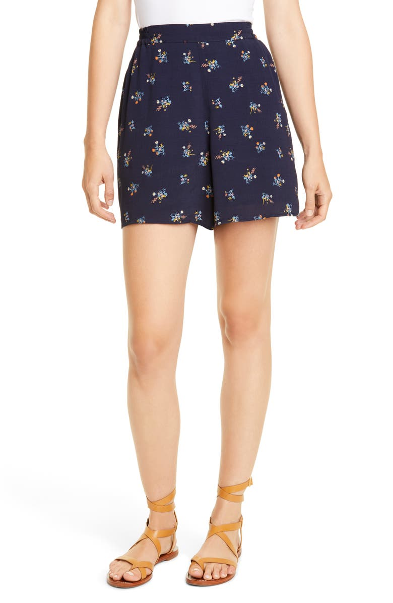 DOLAN Floral High Waist Shorts, Main, color, NAVY WILD ASTER PRINT