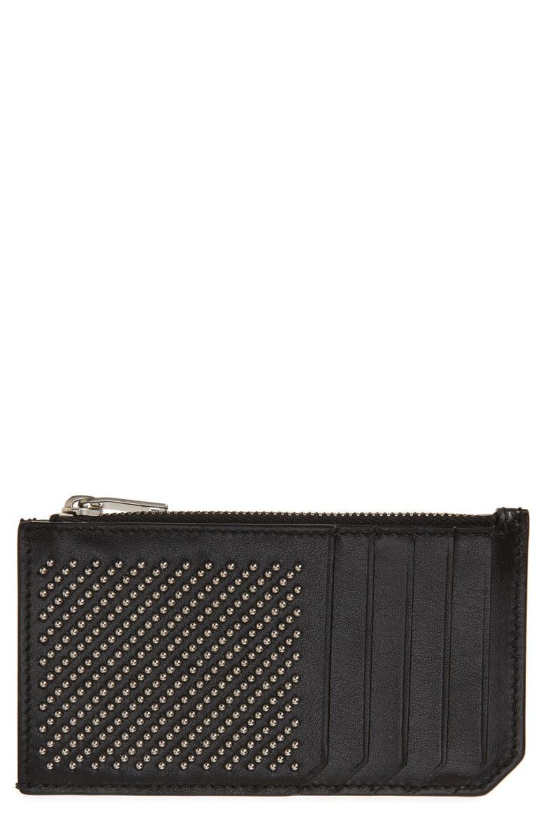 SAINT LAURENT Studded Leather Zip Wallet, Main, color, BLACK