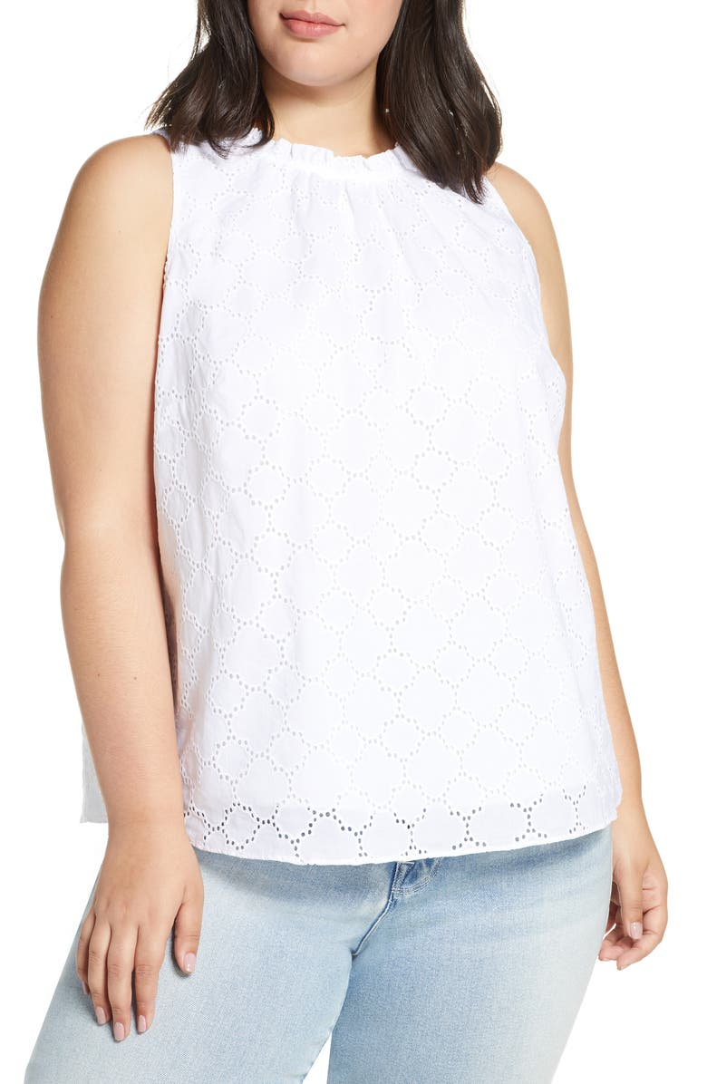 1.STATE Sleeveless Eyelet Top, Main, color, 145