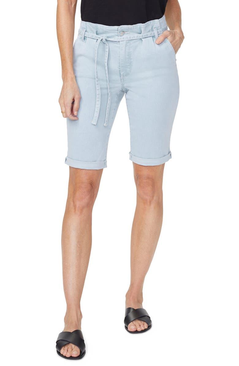 NYDJ Briella Paperbag Waist Cuff Denim Bermuda Shorts, Main, color, VALHALLA