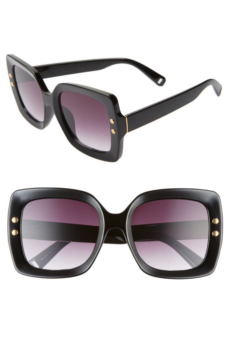 BP. 55mm Square Sunglasses, Main, color, BLACK