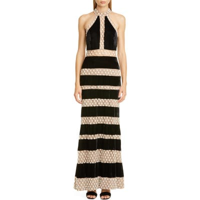 Patbo Imitation Pearl & Velvet Halter Gown, 6 BR - Black