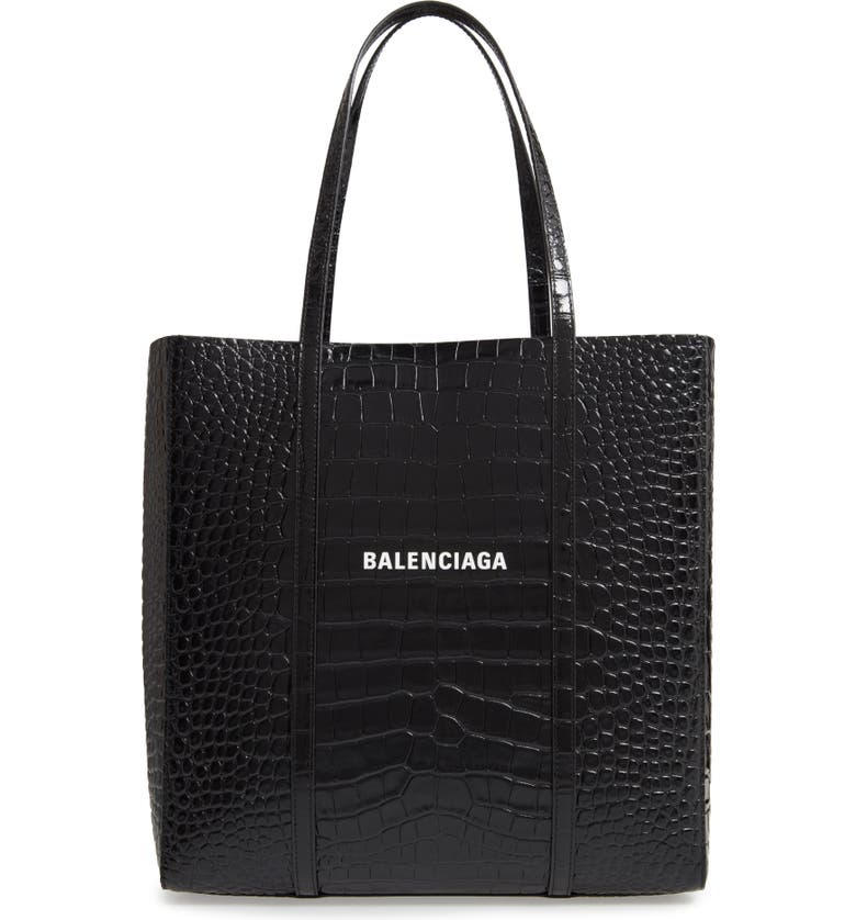 BALENCIAGA Small Everyday Croc Embossed Calfskin Tote, Main, color, BLACK