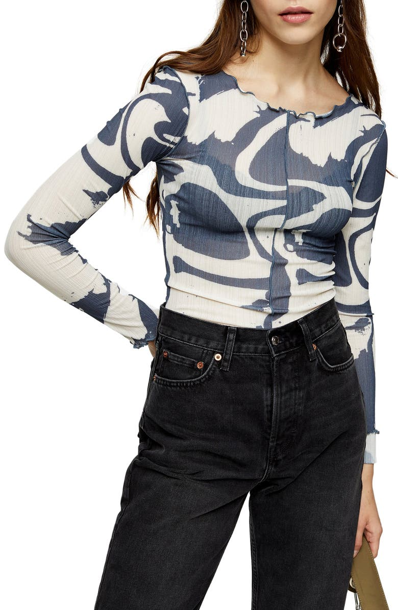TOPSHOP Abstract Print Long Sleeve Top, Main, color, WHITE MULTI