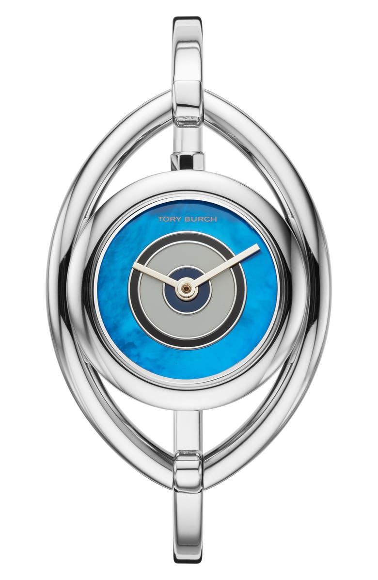 토리버치 Tory Burch Evil Eye Bangle Watch, 25mm,silver/ blue mop/ silver