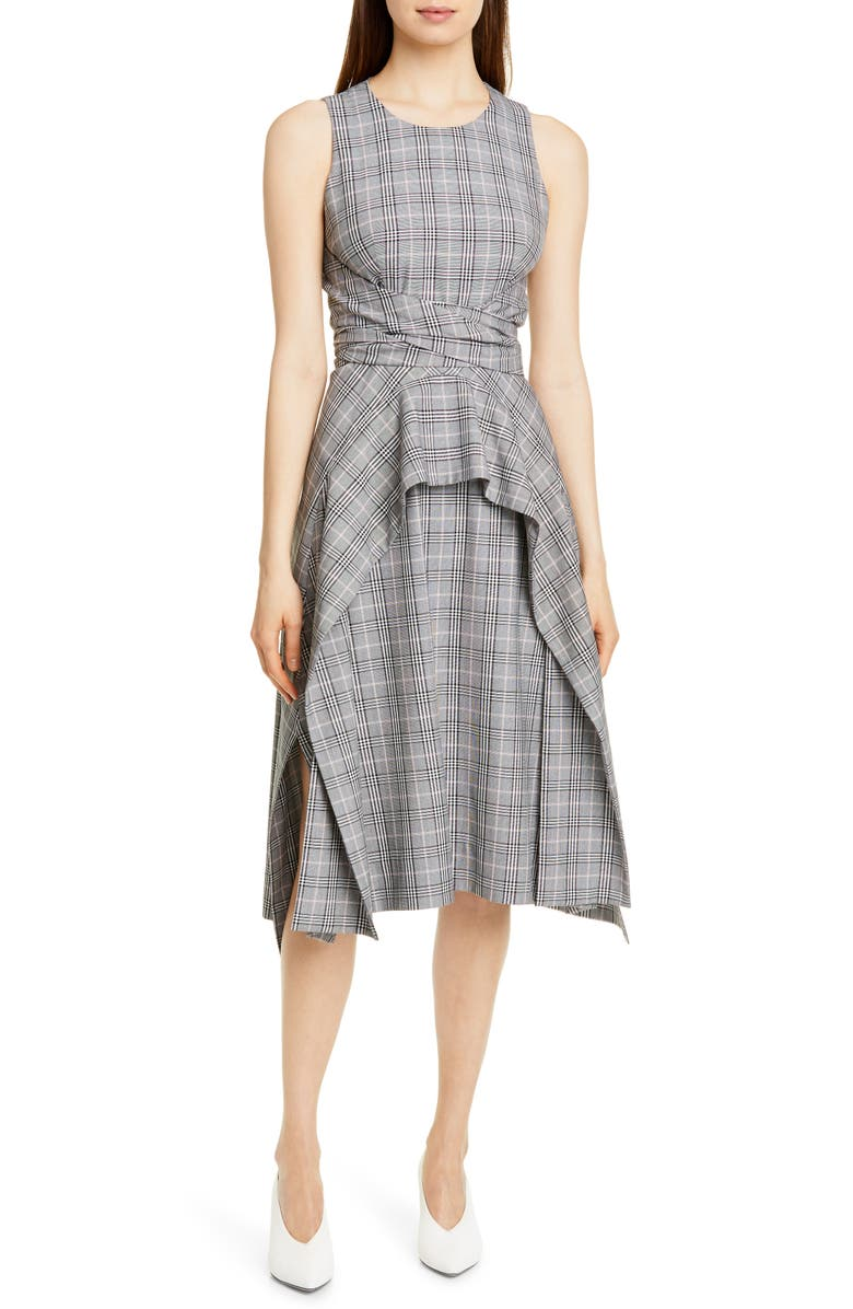 HUGO Kestani Sleeveless Tie Waist Dress, Main, color, GREY