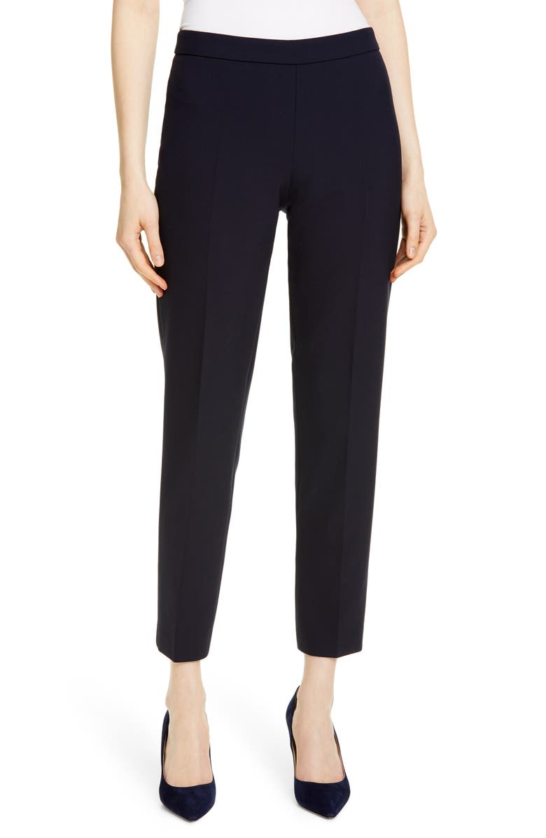 BOSS Tiluna Soft Stretch Side Zip Ponte Trousers, Main, color, NAVY