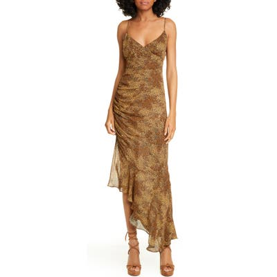 Nicholas Asymmetrical Hem Silk Dress, Beige
