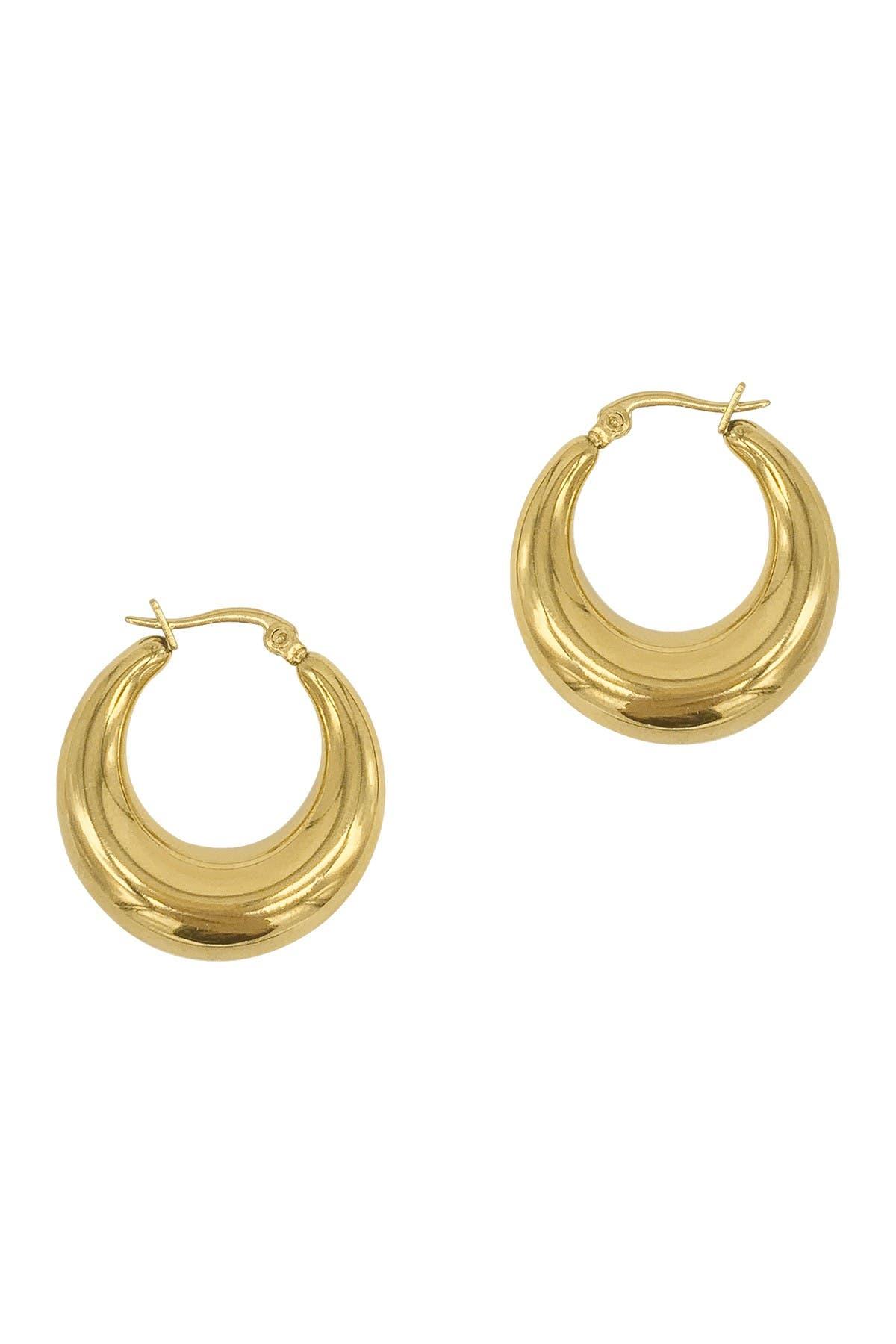 Adornia Earrings STAINLESS STEEL DOMED 25MM HOOP EARRINGS